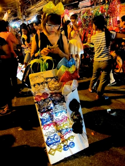 Girl at night market in Vietnam
